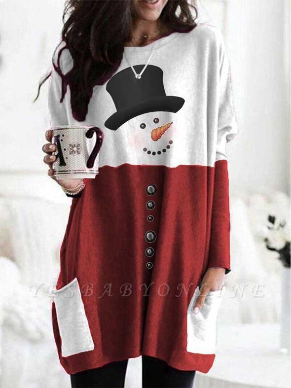 Women's Snowman Print Long Sleeve Top