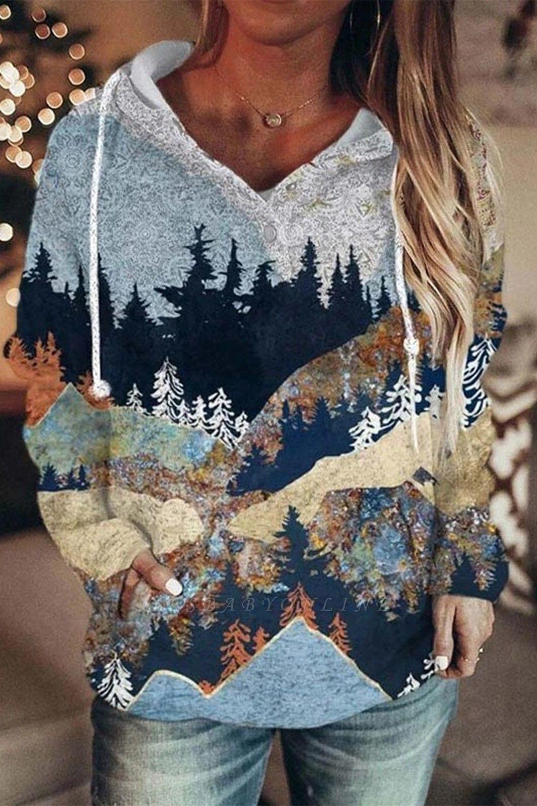 Women's Autumn And Winter Mountain Print Casual Pocket Hoodie & Sweatshirt