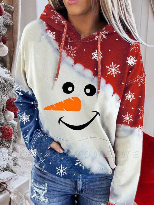 Women's Snowman Contrast Color Long Sleeve Tie-Dye Hoodie