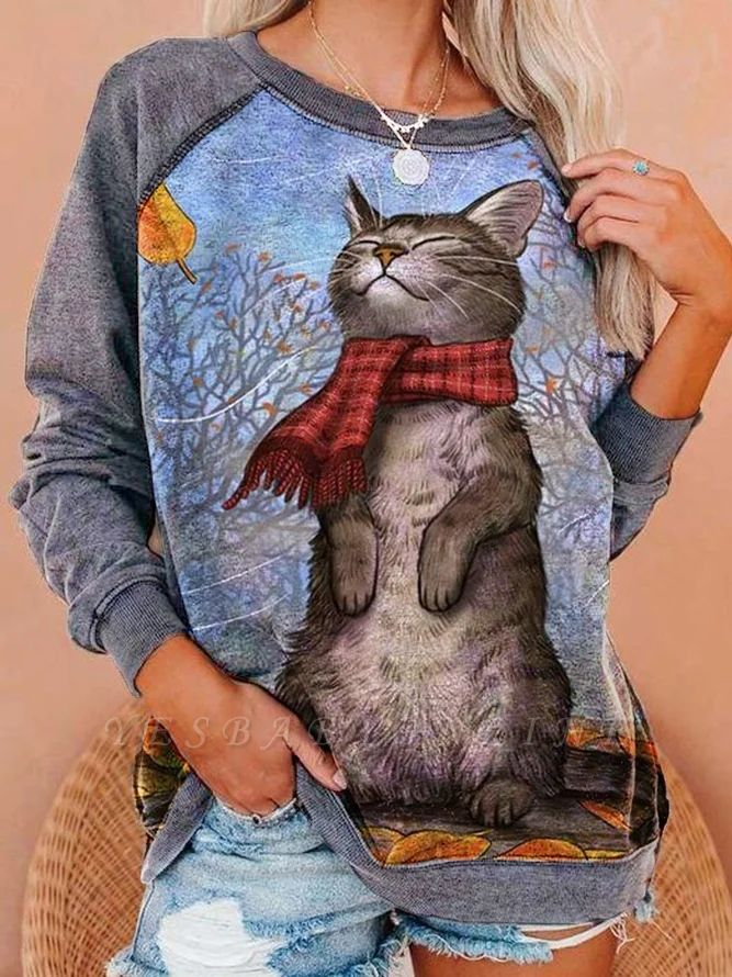 Long Sleeve CAT Print Sweatshirt