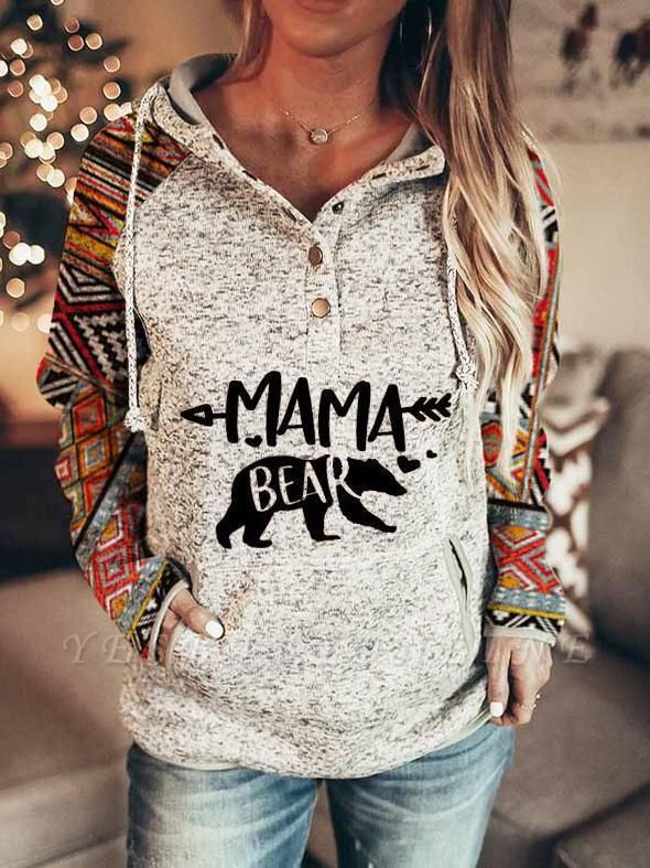 Ladies Fashion Printed MaMa Bear Hooded Casual T-shirt