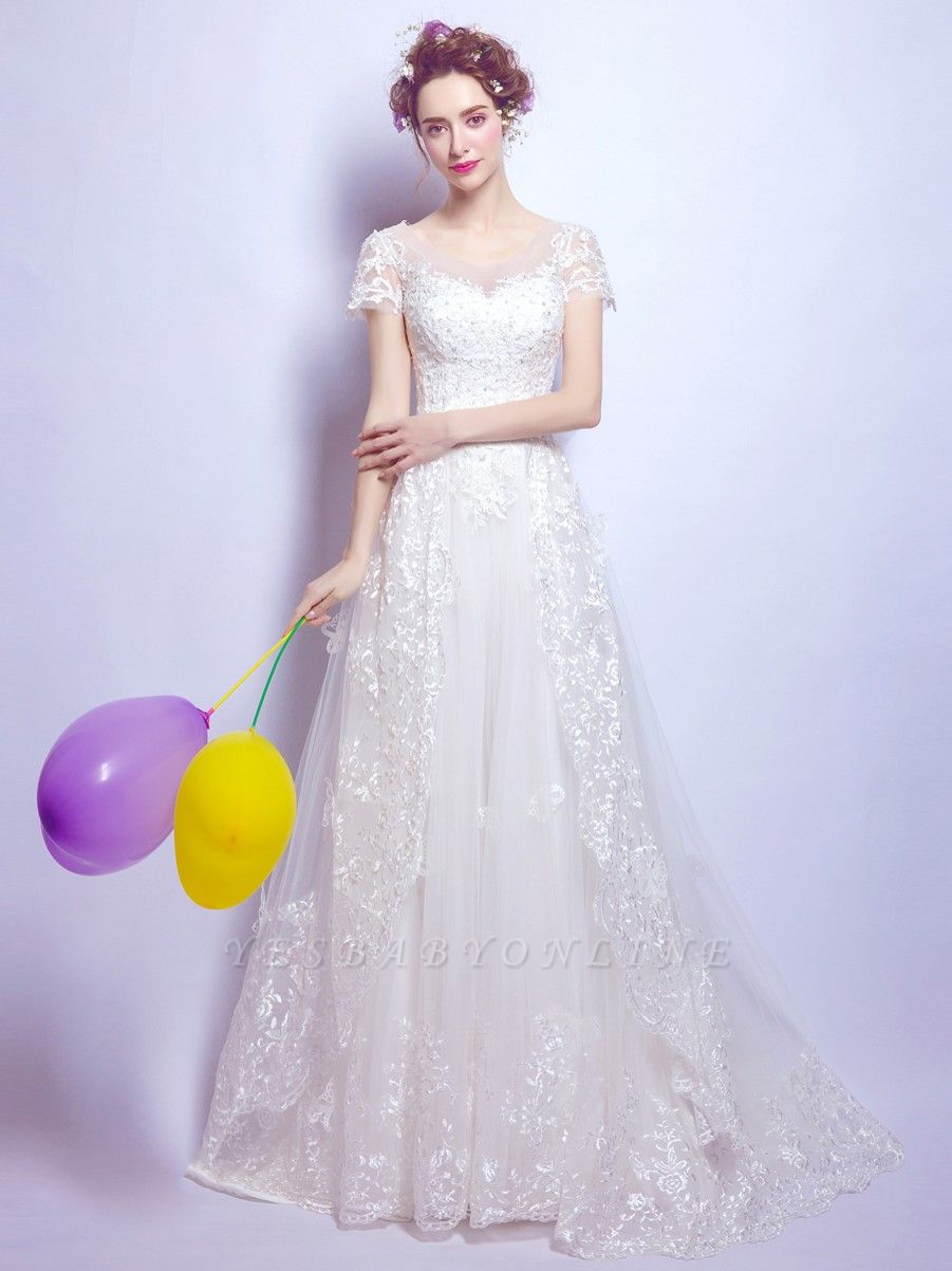 A-Line Tulle Lace Scoop Cap Sleeves Wedding Dress with Bowknot
