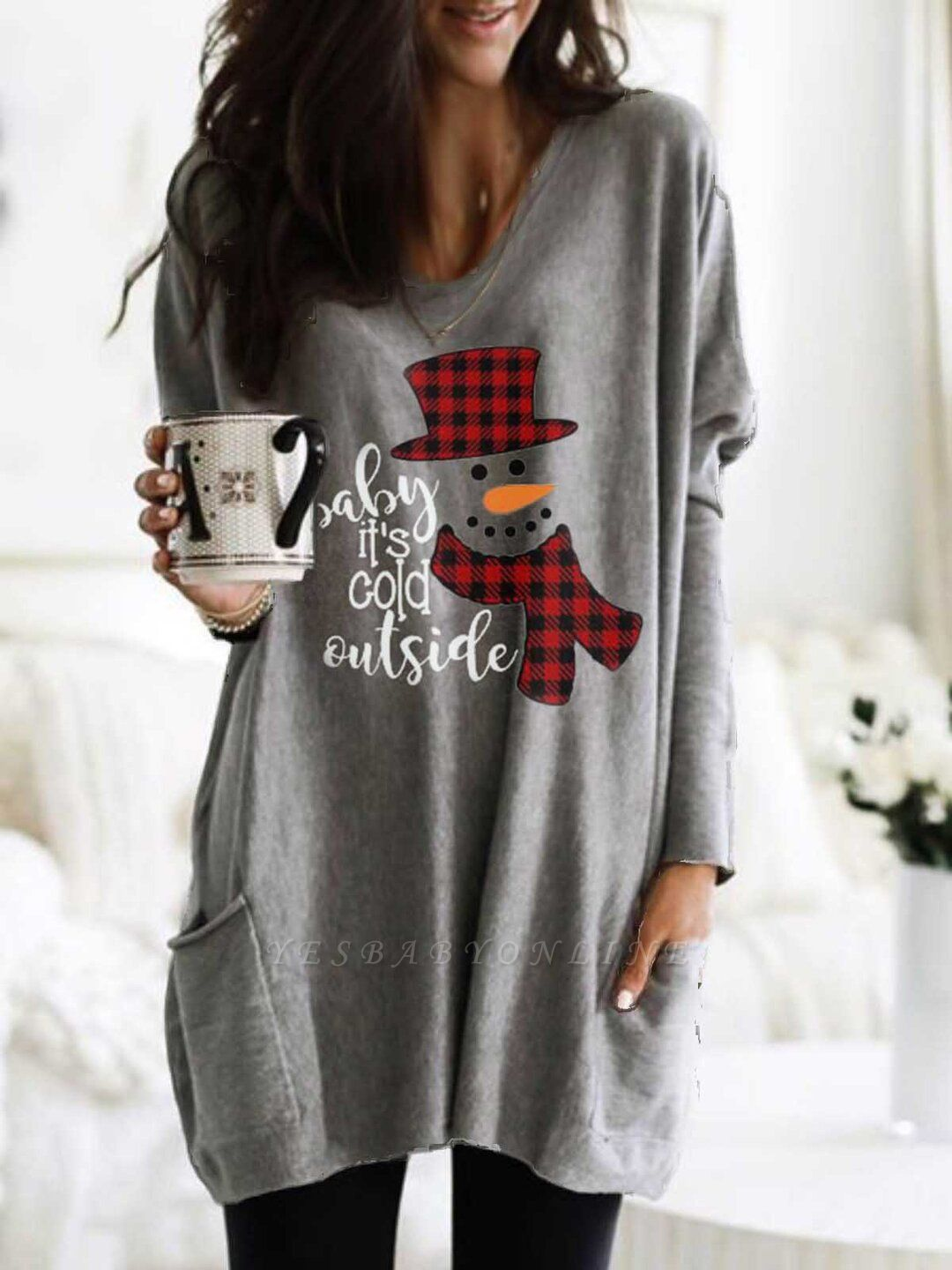 Women's Baby It's Cold Outside Print Long Top