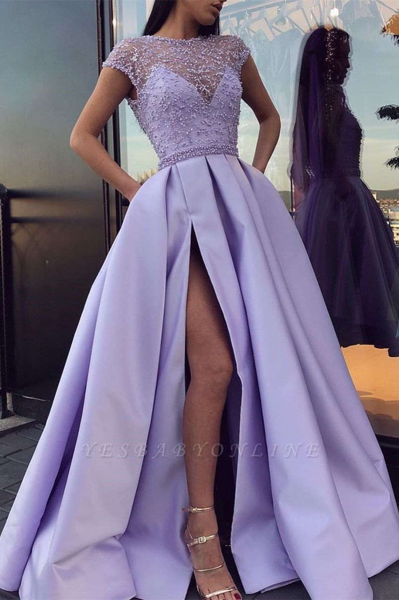 Sexy Jewel Tulle Satin Beadings Slit Prom Dress with Cap Sleeves Online