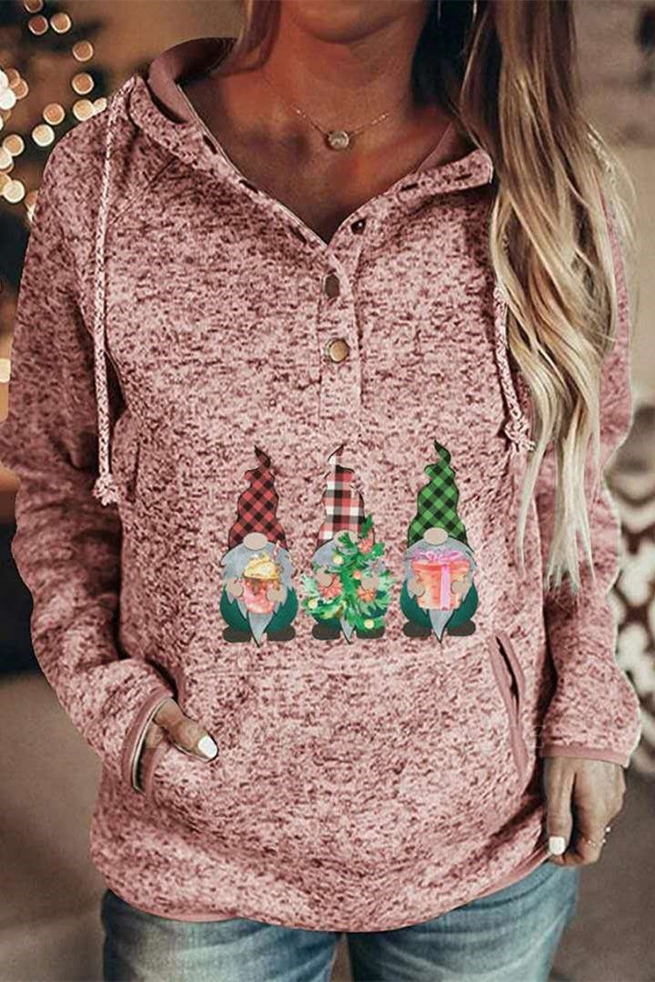 Women's Gnomes Printed Christmas Hooded