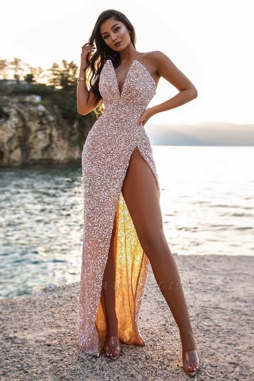 Sexy V-Neck Beadings Sequins Sleeveless Prom Dress with High-Split