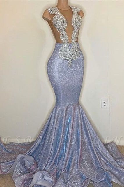 Sexy Mermaid Tulle Lace Sleeveless Prom Dress with Sequins