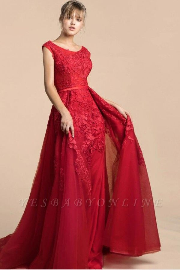Sexy Floor Length Red Lace Prom Dresses Sleeveless Split