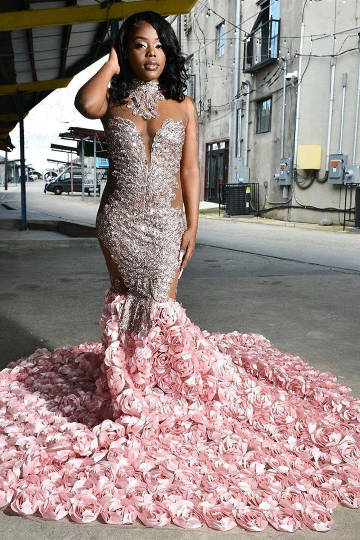 Halter 3D Floral Print Mermaid Sweep Train Pink Prom Dresses