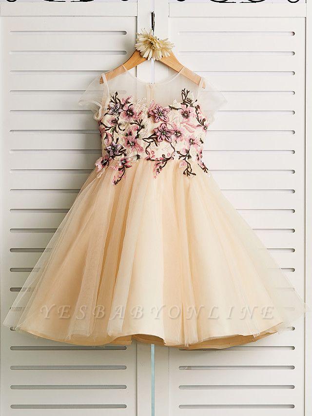 Cute Jewel Tulle Lace Satin Sleeveles Flower Girl Dress