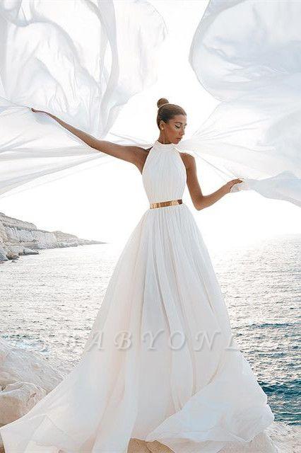 Chic A-Line Chiffon High-Neck Sleeveless Wedding Dress