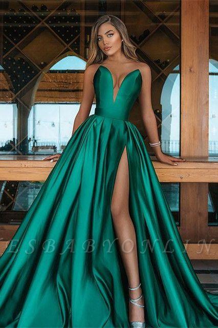 Allering V-Neck Strapless Ruffle Prom Dress with Front Slit