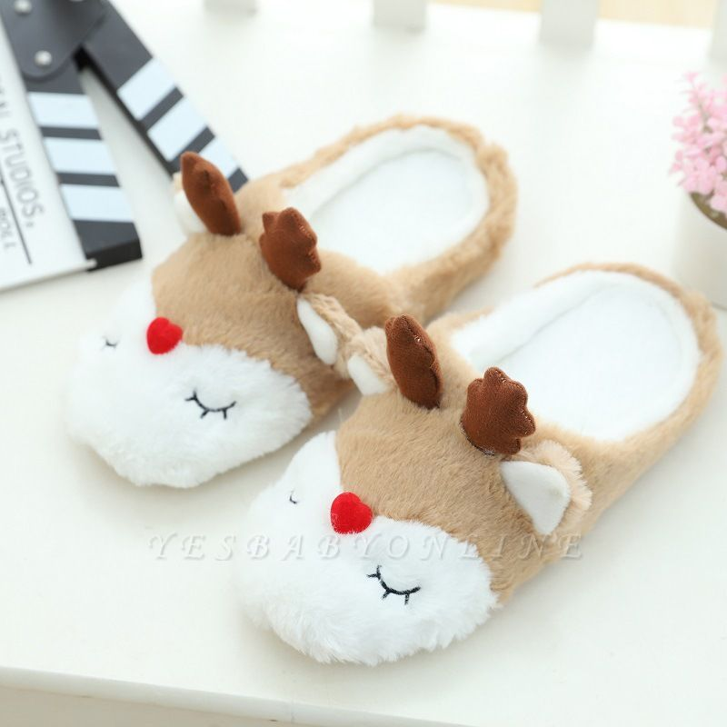 Moose Pattern Fluffy Slippers