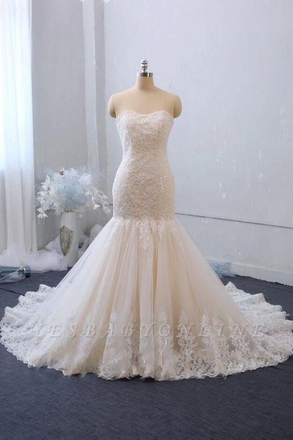 Cheap White Lace Wedding Gowns Sleeveless Mermaid Bridal Wear