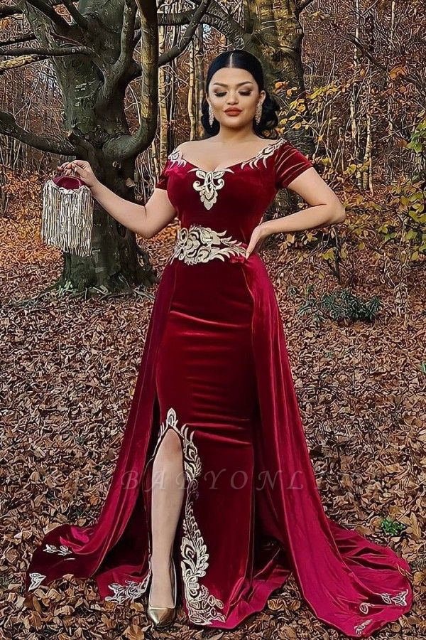 Sexy Floor Length Off the Shoulder Gold Lace Velvet Red Prom Dresses