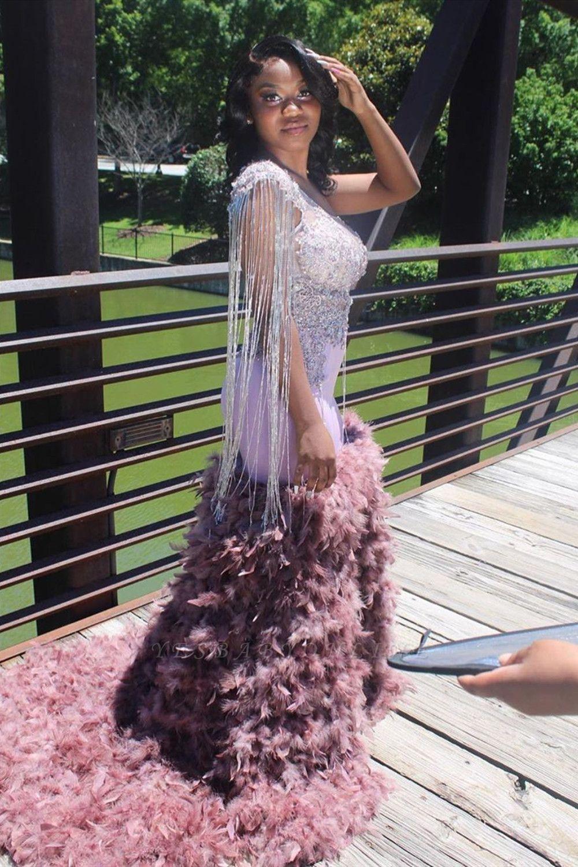 Sparkly Sleeveless Mermaid Prom Dress Glitter Feather Sweep Train