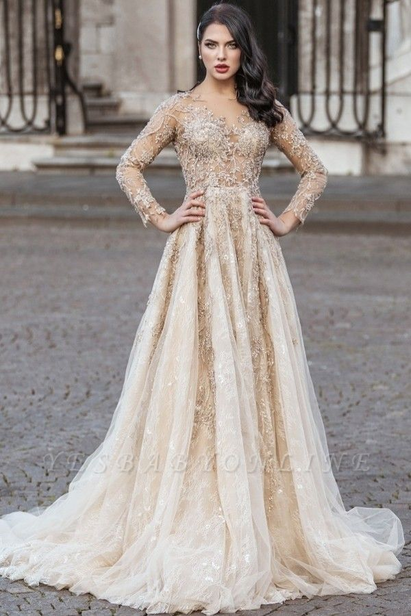 Elegant Floor Length Lace Tulle Long Sleeveless Wedding Dresses