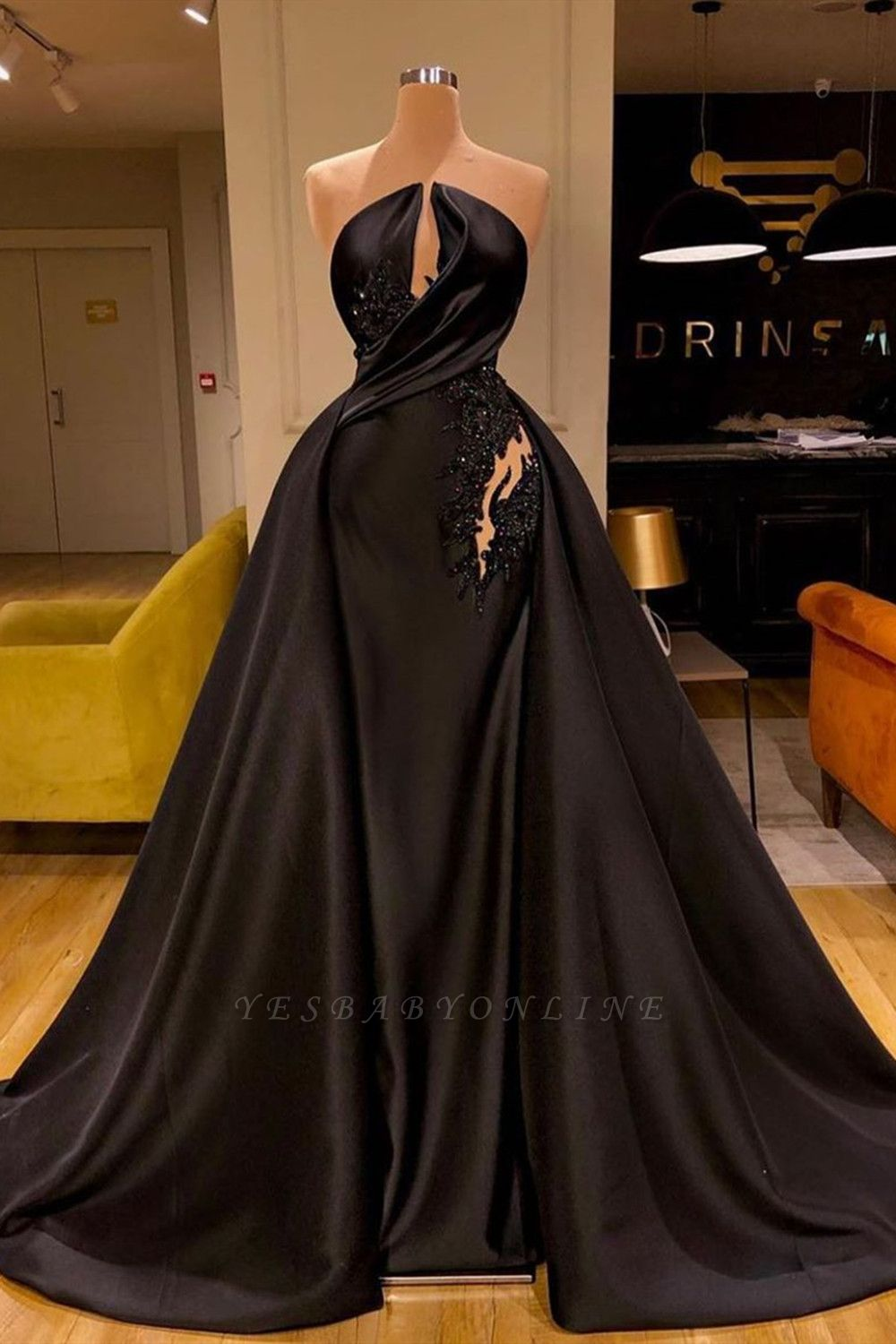 Sleeveless Black Evening Gowns Charming Mermaid Sweep Train
