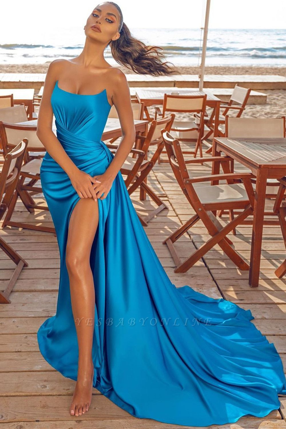 Sexy Sleeveless Blue Prom Dresses Evening Party Dresses