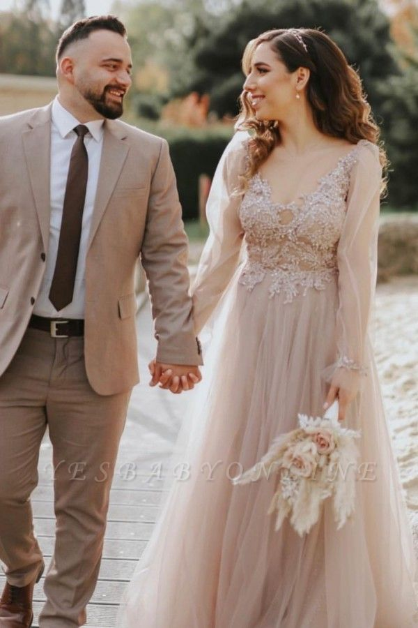 Elegant Floor Length Lace Tulle V Neck Wedding Gowns