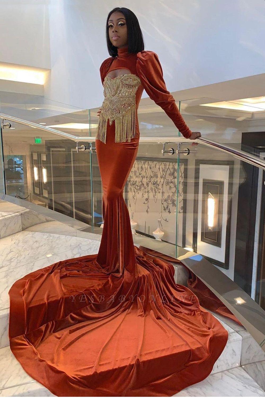 Velvet Long Sleeve Prom Dress Gold Appliques