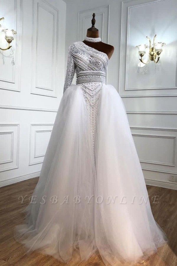 Stylish One-Shoulder Tulle Lace Prom Dress with Pearls