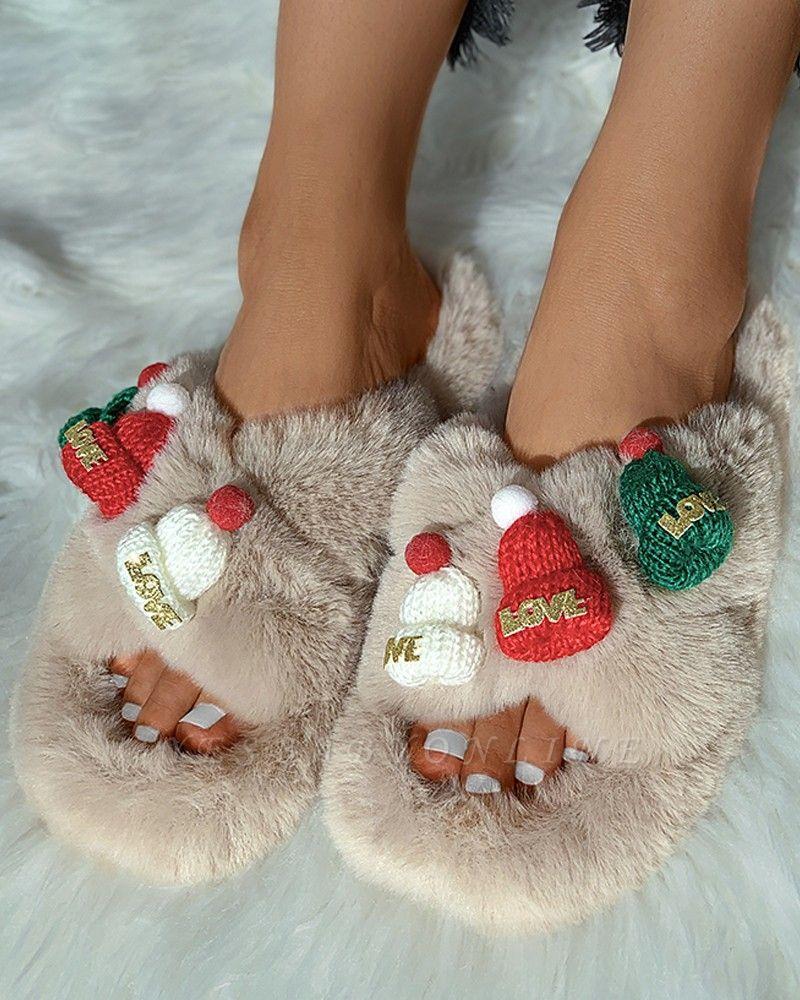 Christmas Pattern Cross Fluffy Slippers