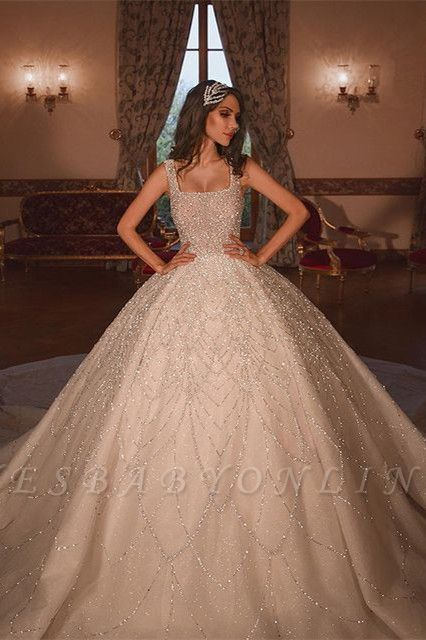 Gorgeous Ball Gown Square Neck Tulle Wedding Dress with Beadings
