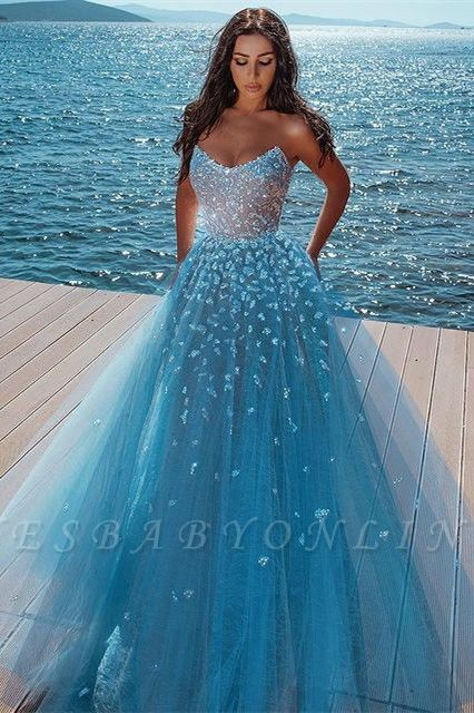Alluring Strapless Sweetheart Tulle Beading Prom Dress