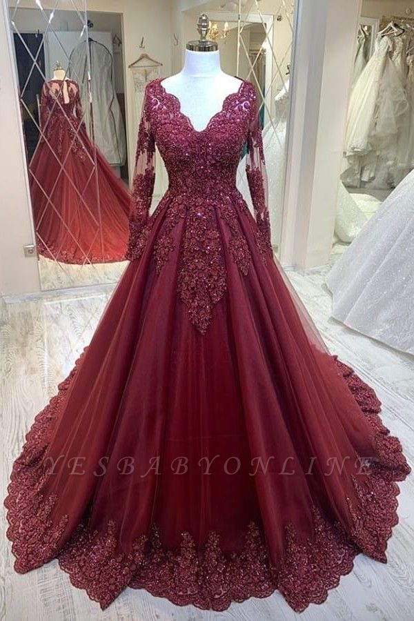 Elegant V-Neck Tulle Lace Long Sleeves Prom Dress with Beadings