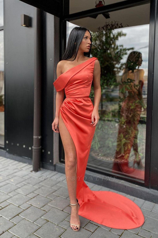 Sexy One Shoulder Slim Splitfront Prom Dress Beach Evening Party Dress