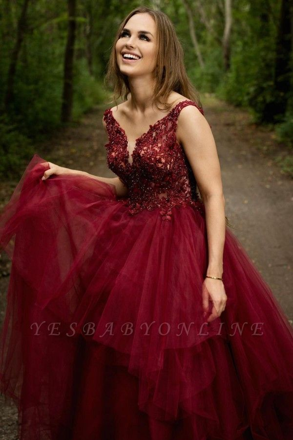 Elegant V-neck Burgundy Tulle Lace Prom Dress