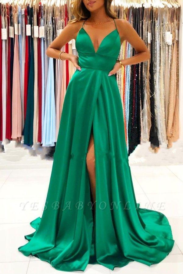 Cheap Green Prom Dresses Floor Length V Neck Dress with Split
