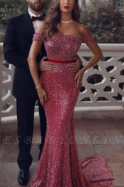 Sparkly Sequined Off-Shoulder Mermaid Prom Dress