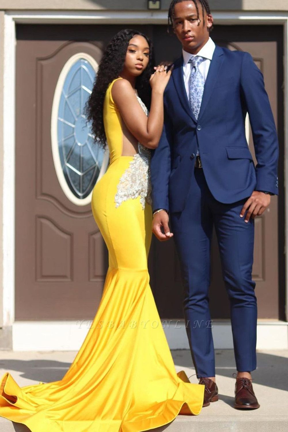 Yellow Sleeveless Mermaid Evening Prom Dresses Lace Appliques