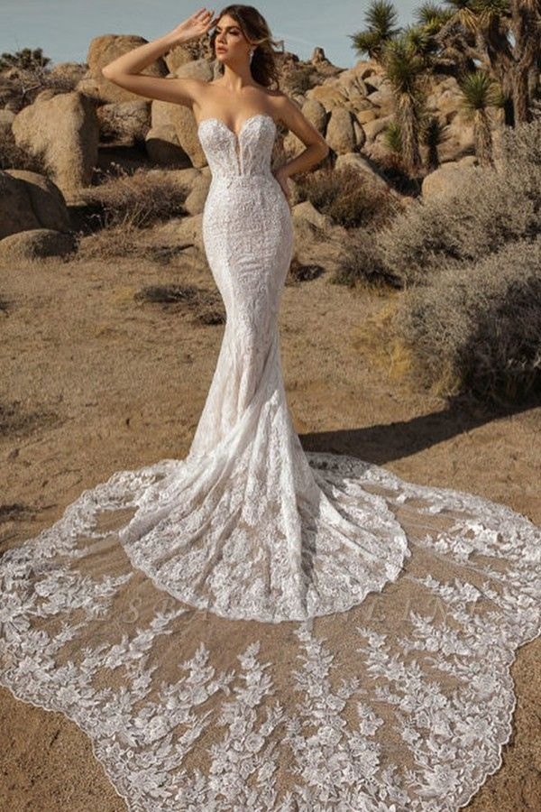 Sexy Floor Length Sweetheart White Lace Mermaid Wedding Gowns