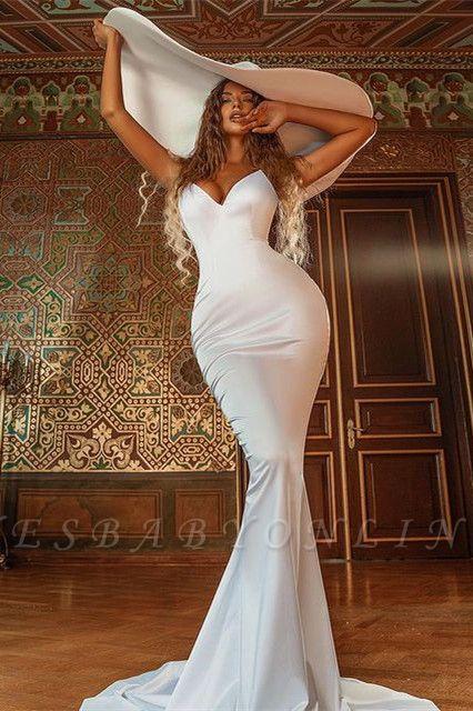 Simple Mermaid V-Neck Sleeveless Prom Dress