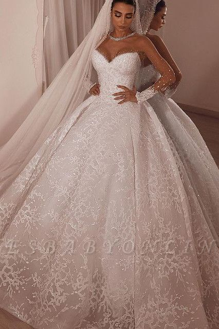 Luxury Ball Gown Tulle Lace Long Sleeves Wedding Dress with Beadings