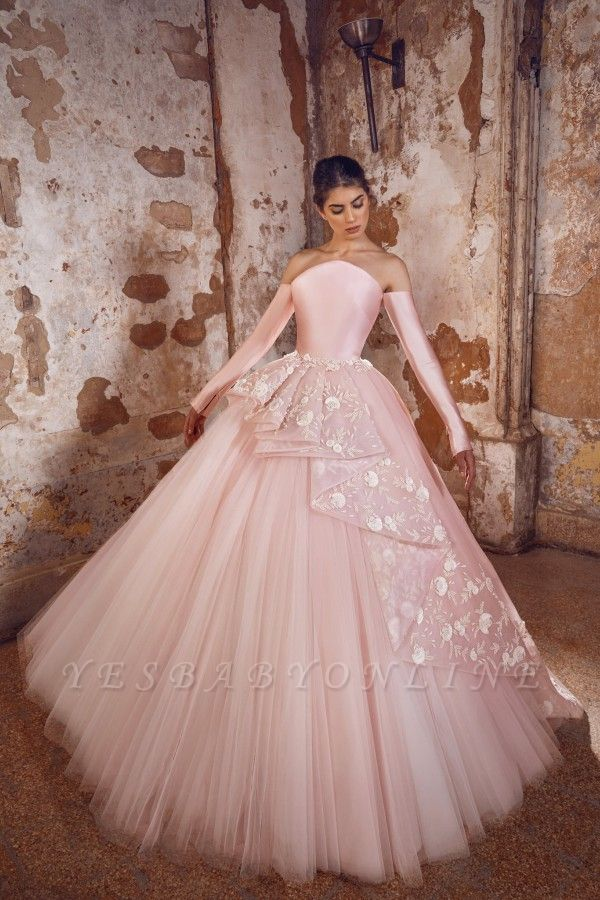A-line Off-Shoulder Long Sleeves Tulle Lace Prom Dress with Flowers