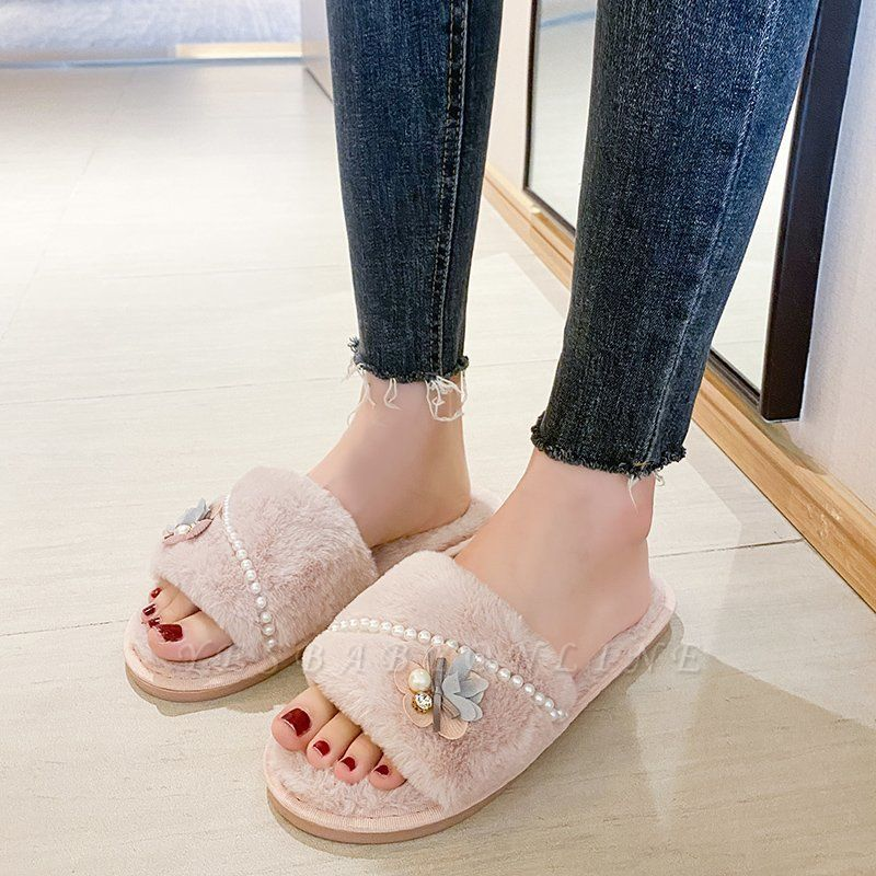 Floral Pattern Beaded Fluffy Slippers