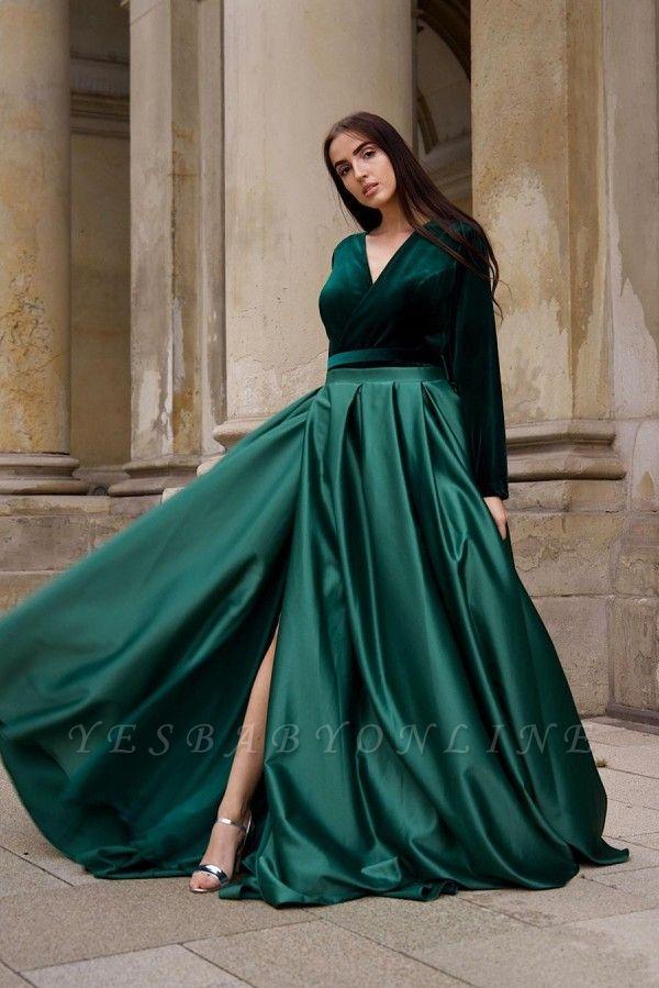 Chic V-neck Long Sleeves Satin Velvet Prom Dress with Slit