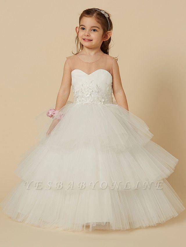 Lovely Jewel Tulle Lace Sleeveless Flower Girl Dress