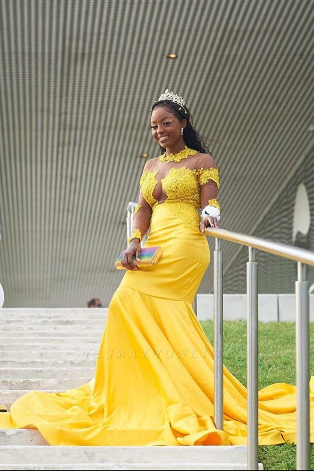 Yellow Long Sleeve Mermaid Prom Gowns Sweep Train Appliques