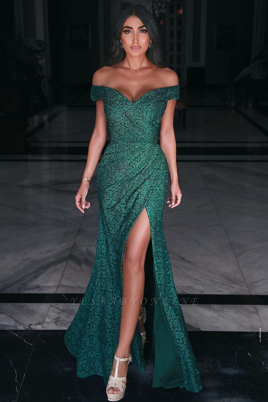 Charming Off Shoulder Prom Gown Side Split Evening Maxi Dress