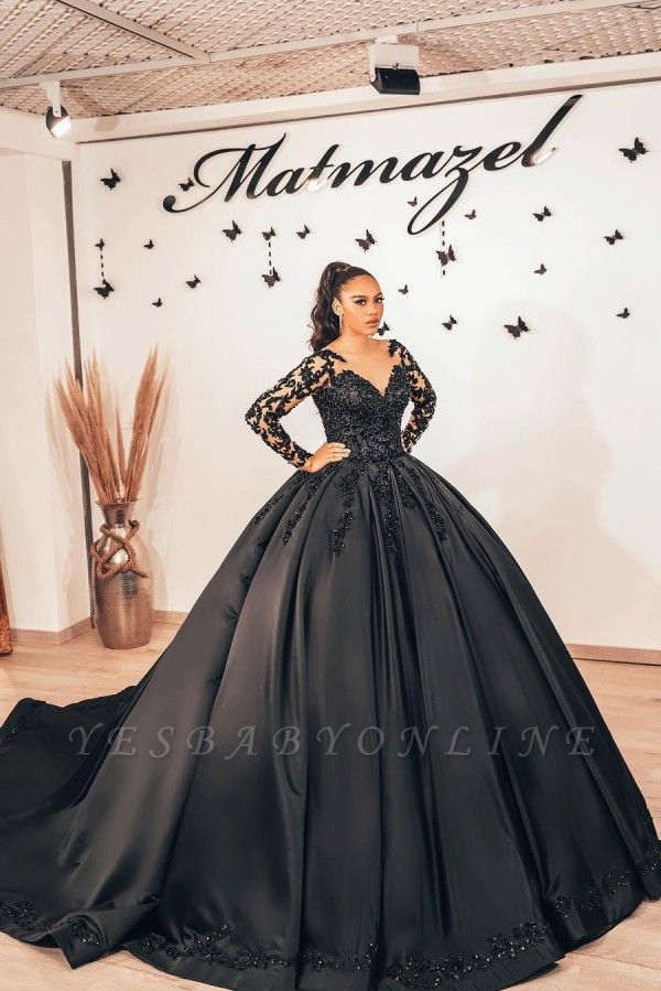 Cheap Black Lace Prom Dresses Ball Gowns Satin Evening Gowns