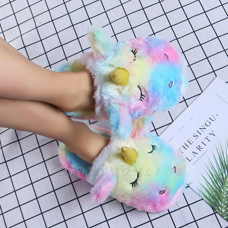 Unicorn Pattern Colorblock Fluffy Slippers