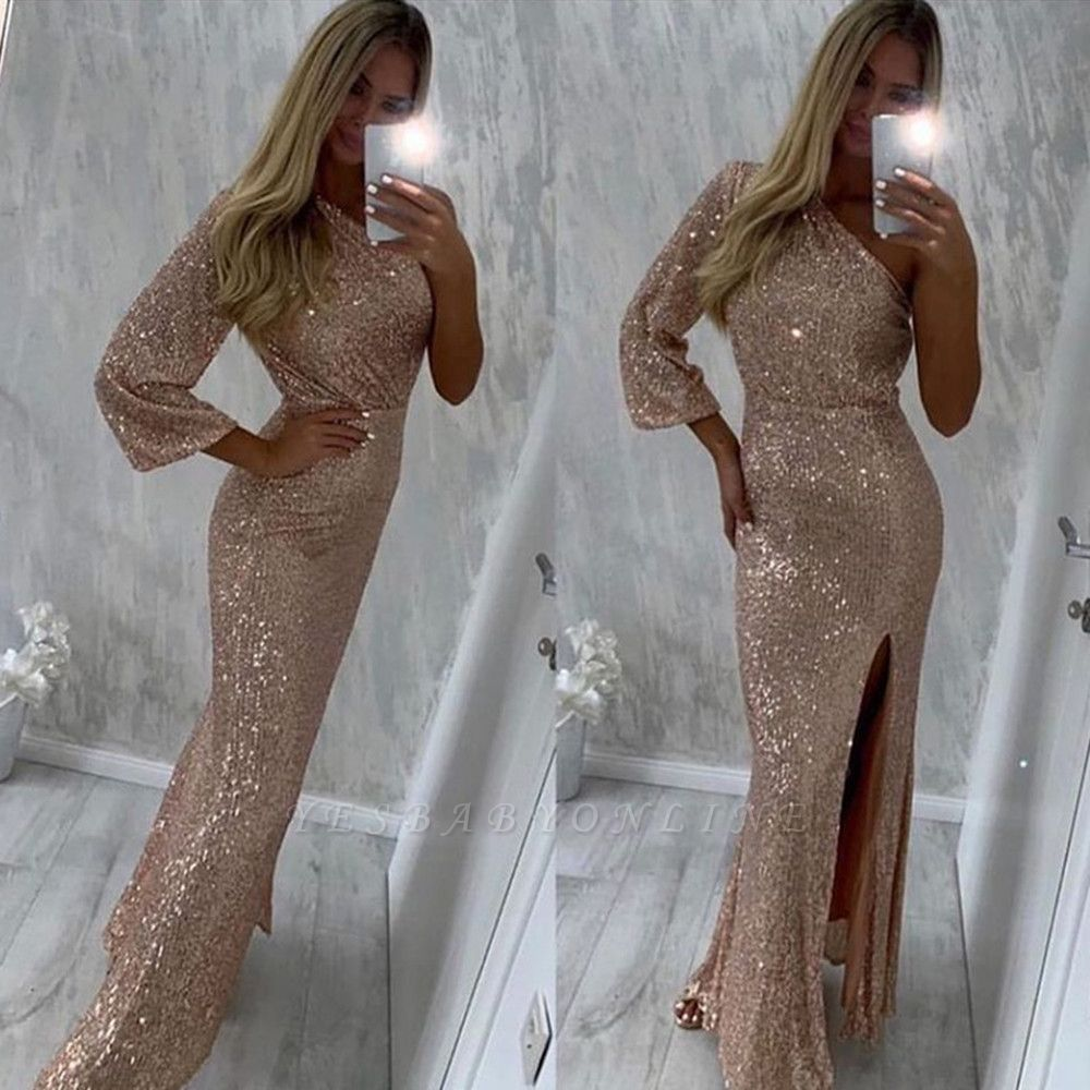 Chic One Shoulder Mermaid Sequins Prom Dress with Slit