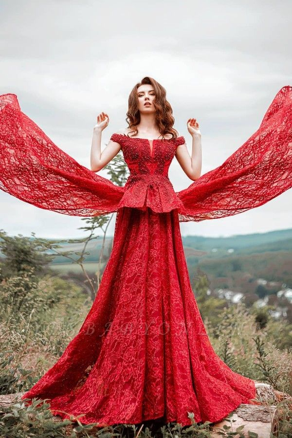 Glamorous Red Lace Off-Shoulder Beadings Prom Dress with Ruffles