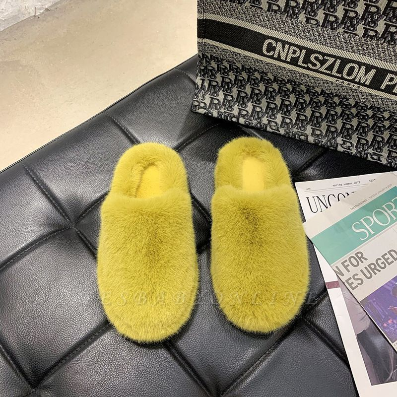 Plain Close Toe Fluffy Slippers
