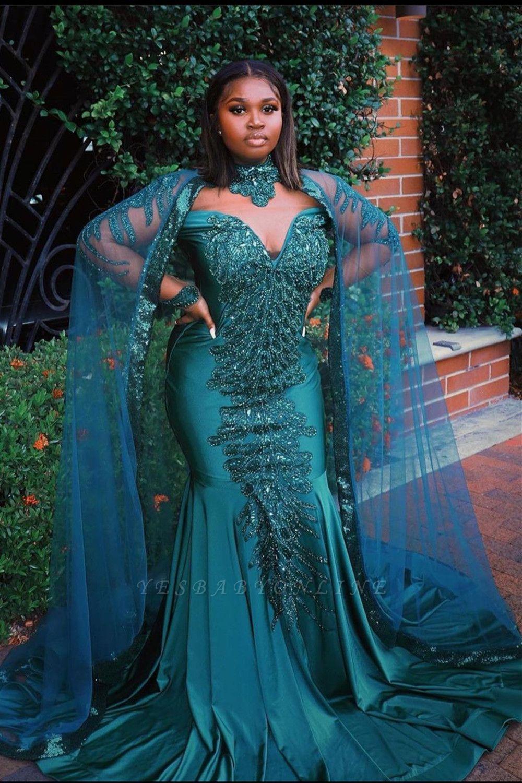 Glamorous Mermaid Prom Dresses Long Sleeve Floor Length Evening Gowns